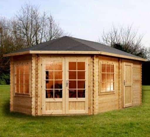 Adley 5m x 3m Somerset Corner Log Cabin With Side Shed - Left Sided