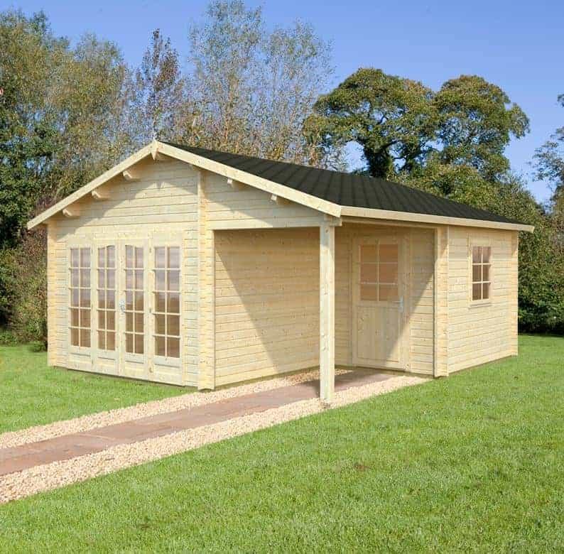 Palmako Roger 5.1m x 5.5m Log Cabin Garage (44mm) - Double Doors