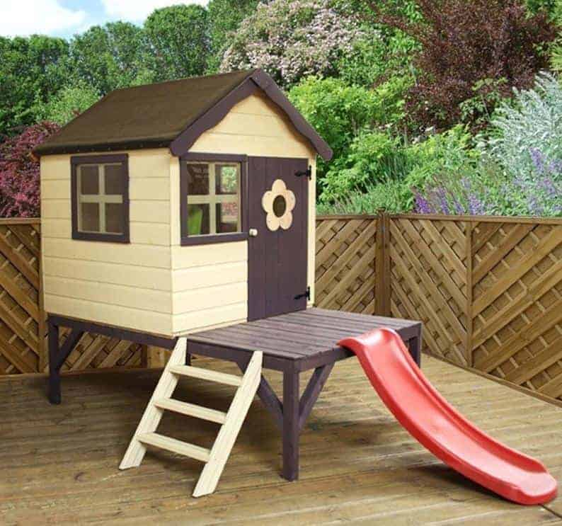 4x4 Windsor Snug Tower Kids Wooden Playhouse With Slide