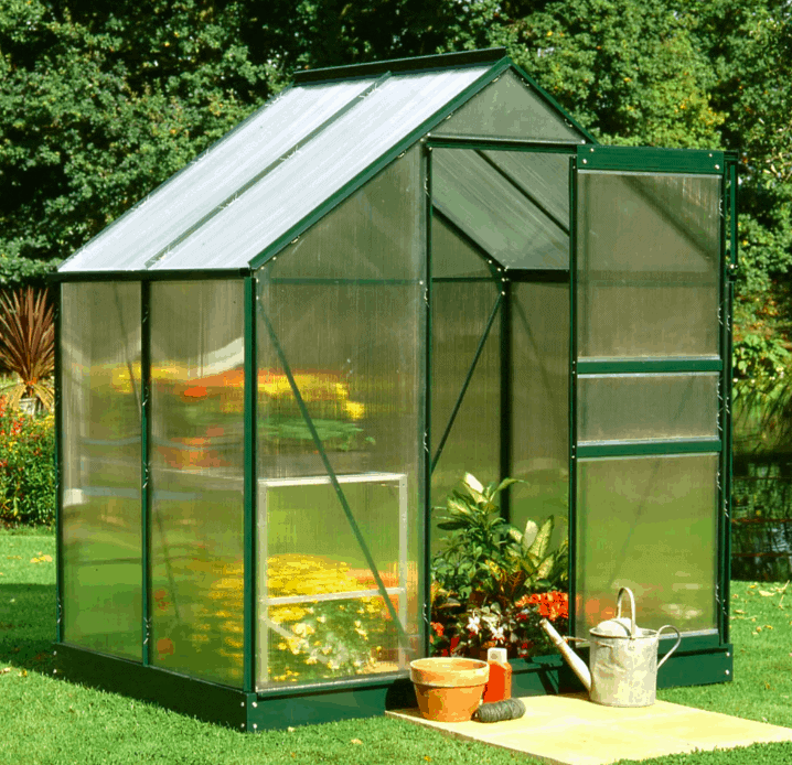 6'x4' Halls Green Frame Polycarbonate Greenhouse (1.92x1.32m)