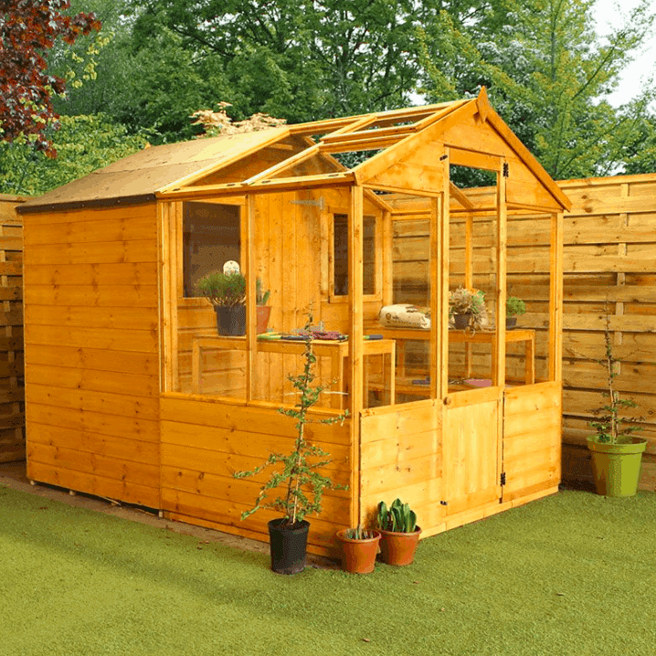 8' x 6' Windsor Traditional Shiplap Wooden Apex Greenhouse Combi Shed (2.45m x 1.97m)