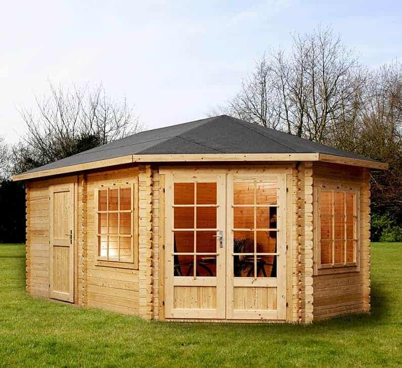 Alpine Aspen Plus RH 5m x 3m Log Cabin with Side Shed (28mm)