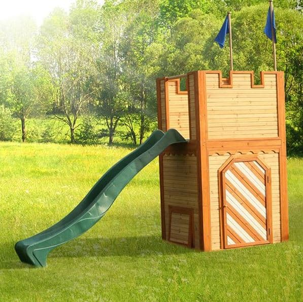 Wooden Play House Knight's Castle with Viewing Platform + Ladder + Slide