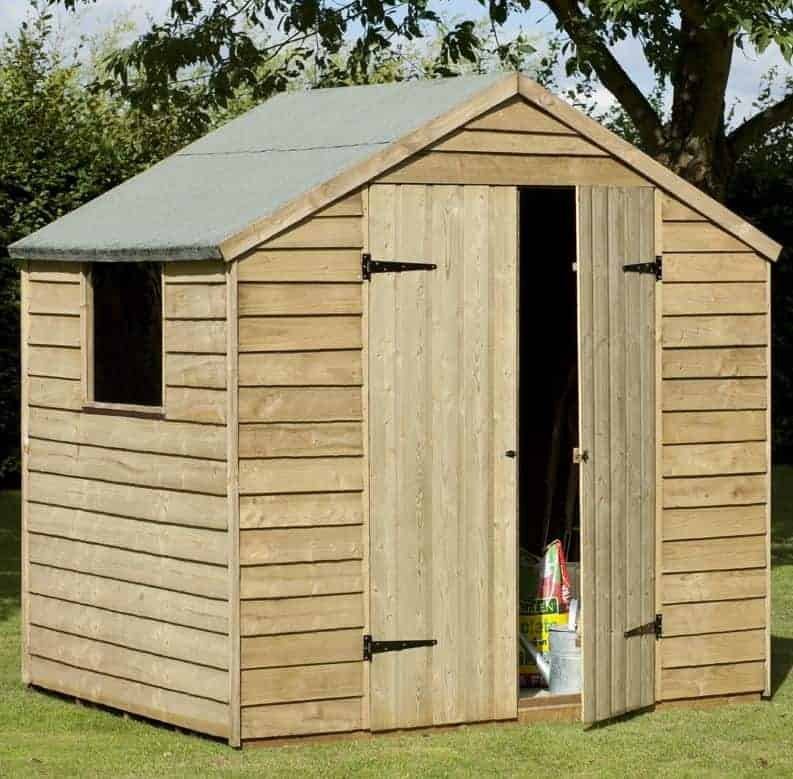 7' x 5' Forest Overlap Apex Pressure Treated Wooden Double Door Shed (2.19m x 1.46m)