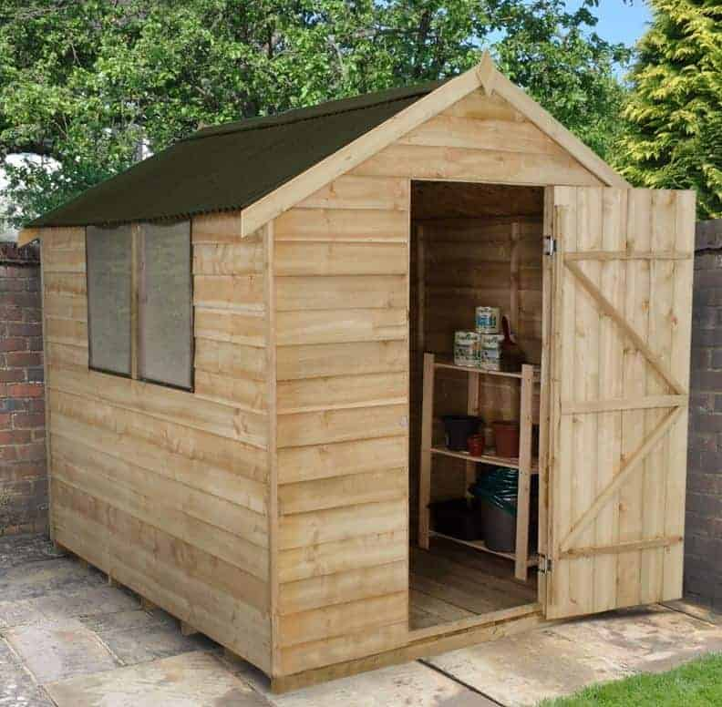 8' x 6' Forest Overlap Apex Pressure Treated Wooden Shed - with Onduline Roof (2.4m x 1.91m)