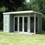 Contemporary Summer Houses - 12 x 8 Waltons Contemporary Summer House With Side Shed