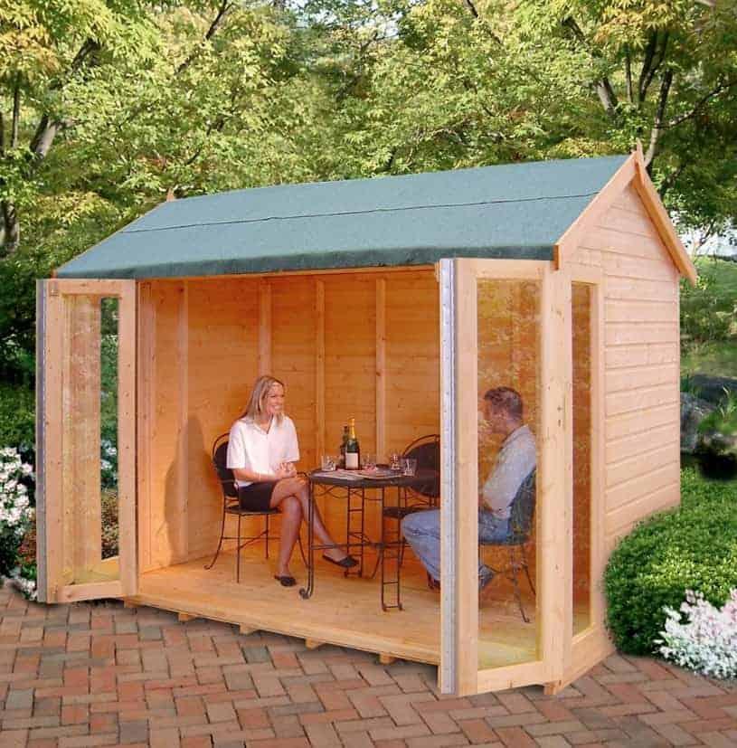 10'3x8'4 Shire Blenheim Wooden Summerhouse With Bi-Fold Doors