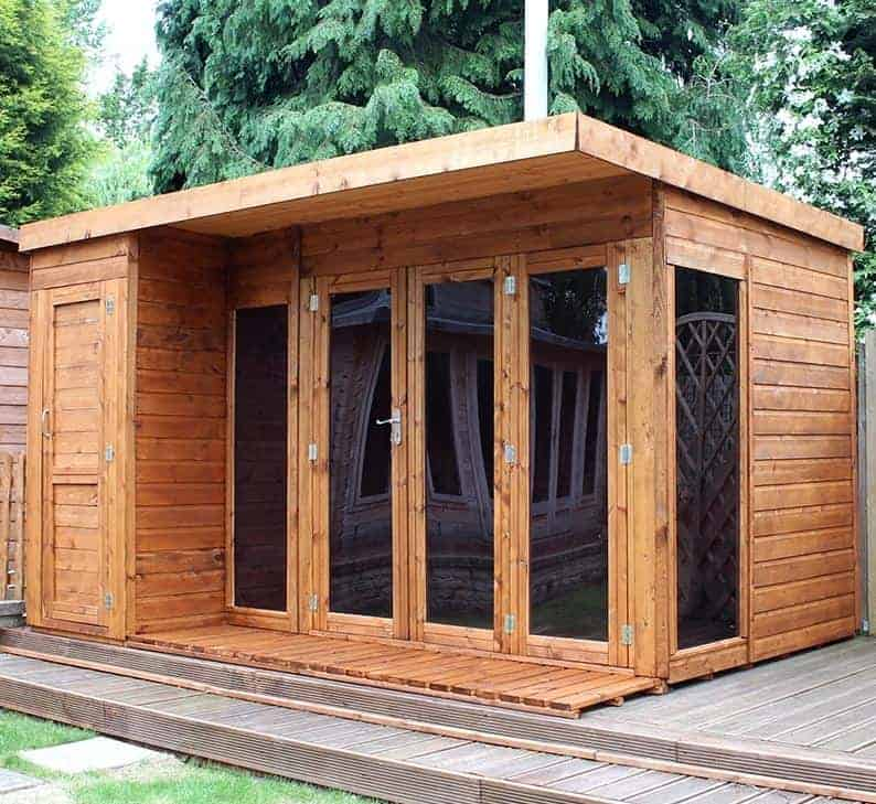 12x8 Windsor Contemporary Wooden Summerhouse / Garden Room With Side Shed