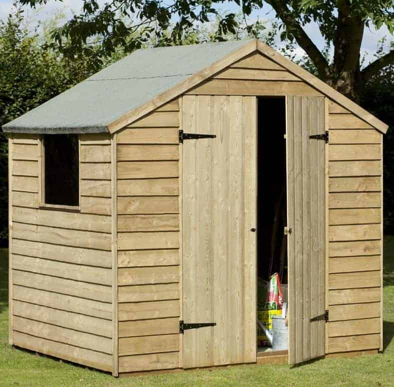 7 x 5 pressure treated overlap double door garden storage shed