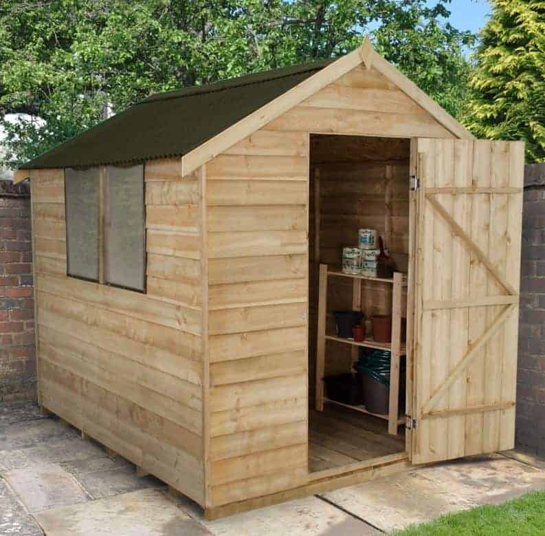 8' x 6' Forest Overlap Apex Pressure Treated Wooden Shed (2.4m x 1.91m)
