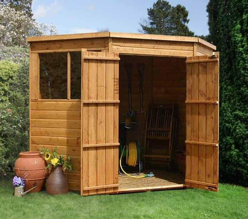 7' x 7' Forest Premium Tongue And Groove Pressure Treated Wooden Corner Shed (2.96m x 2.31m)