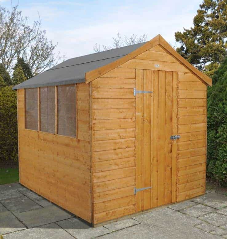 8' x 6' Forest Shiplap Apex Dip Treated Wooden Shed (2.4m x 1.91m)