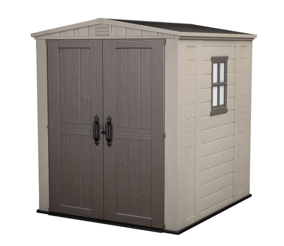 Keter Factor Outdoor Plastic Garden Storage Shed, Beige, 6 x 6 ft