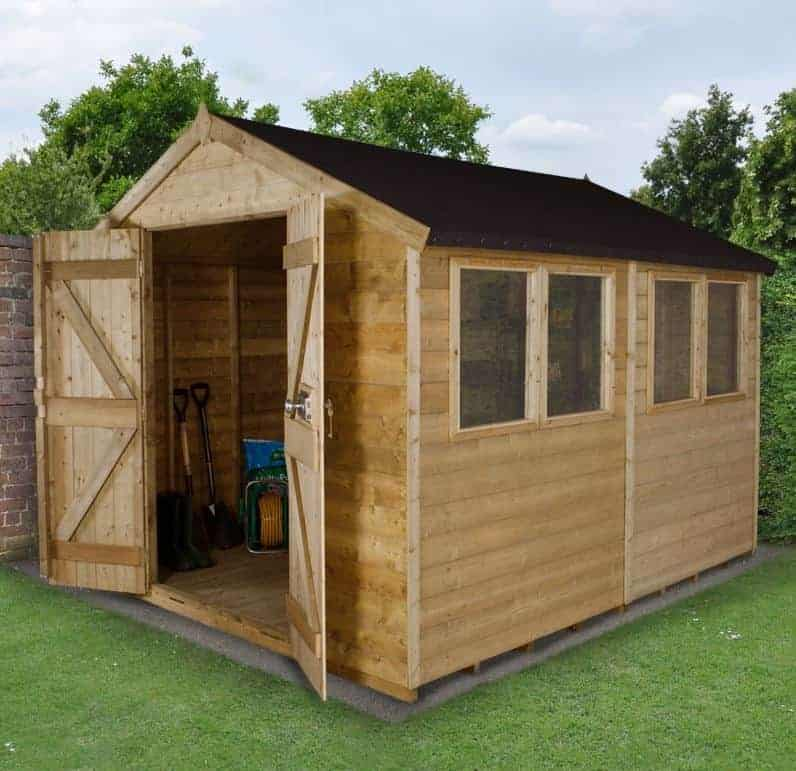 10' x 8' Forest Tongue & Groove Apex Pressure Treated Wooden Double Door Shed (3.10m x 2.63m)