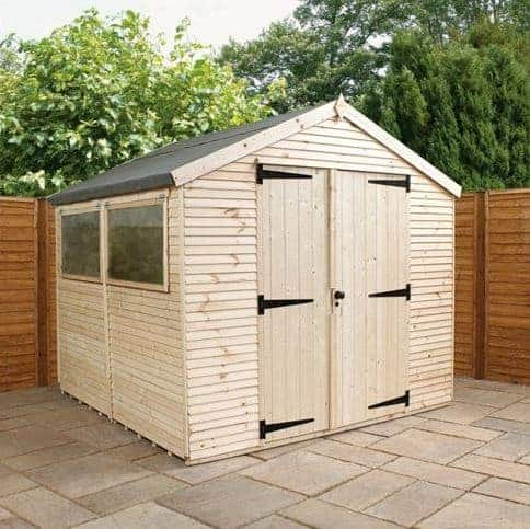 8' x 6' Forest Overlap Apex Pressure Treated Wooden Double Door Shed (2.4m x 1.91m)