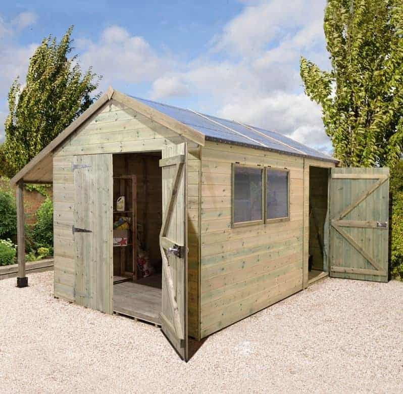 10' x 8' Shed Republic Ultimate Combination Workshop / Log Store - Double Doors (3m x 2.4m)