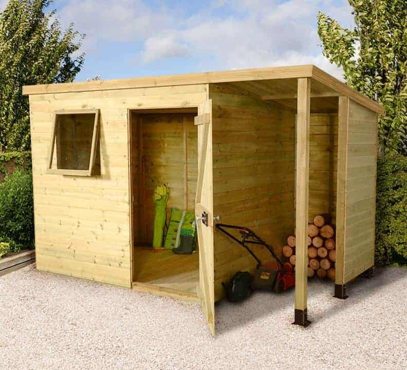 7' x 5' Shed-Plus Champion Heavy Duty Pent Shed - Single Door on Right with 3' Logstore on Right (2.21m x 1.6m)