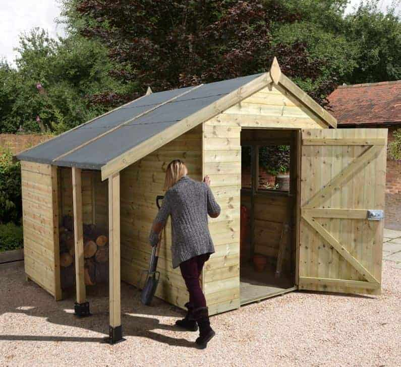 8' x 6' Shed-Plus Champion Heavy Duty Workshop with Logstore - Single Door (2.42m x 1.82m)