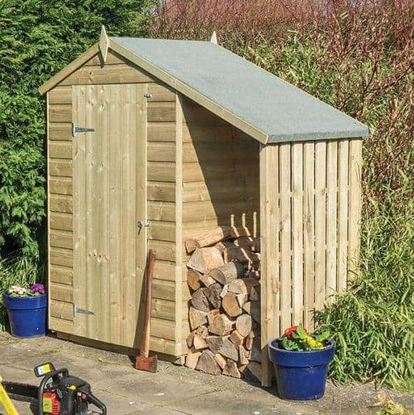 Rowlinson 4 X 3 Pressure Treated Wood Storage Sheds With Lean To