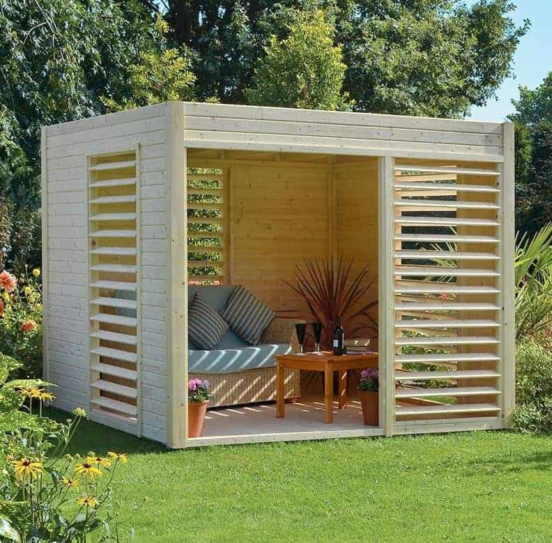 9'x9' (2.7x2.7m) Rowlinson Veronica Wooden Contemporary Garden Pavillion