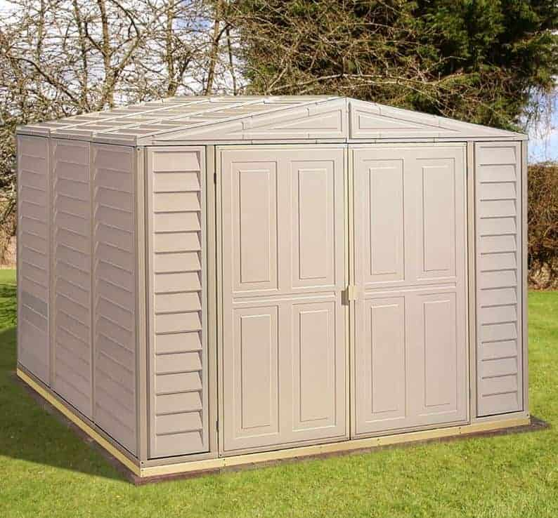 8' x 5'3 Saffron Plastic Vinyl Apex Shed (Includes Foundation Kit and Skylight) (2.39m x 1.6m)
