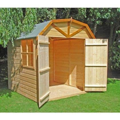 6'9 x 6'6 Shire Barn Double Door Wooden Garden Shed (2.16m x 2.52m)