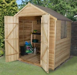 7 x 5 Apex Double Door Pressure Treated Overlap Shed