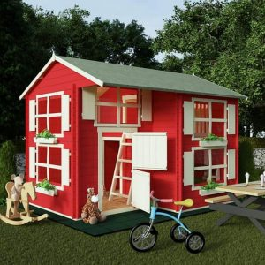 BillyOh Mad Dash Annex Log Cabin Wooden Playhouse - Playhouse Type And Roof Size