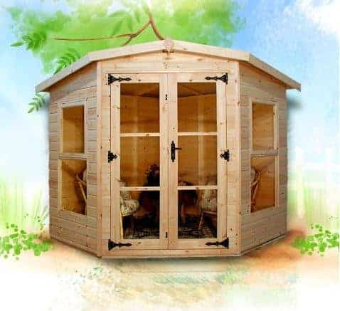 Rushton 7ft x 7ft Devon Five Sided Corner Summerhouse
