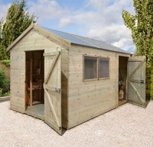 10 x 8 Shed-Plus Heavy Duty Combination Double Door Wooden Shed Cladding Frame And Floor