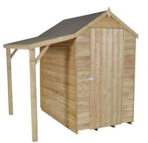 6 x 4 Overlap Pressure Treated Wooden Shed With Lean-To Doors And Windows
