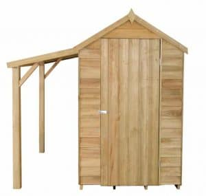 6 x 4 Overlap Pressure Treated Wooden Shed With Lean-To Security And Privacy