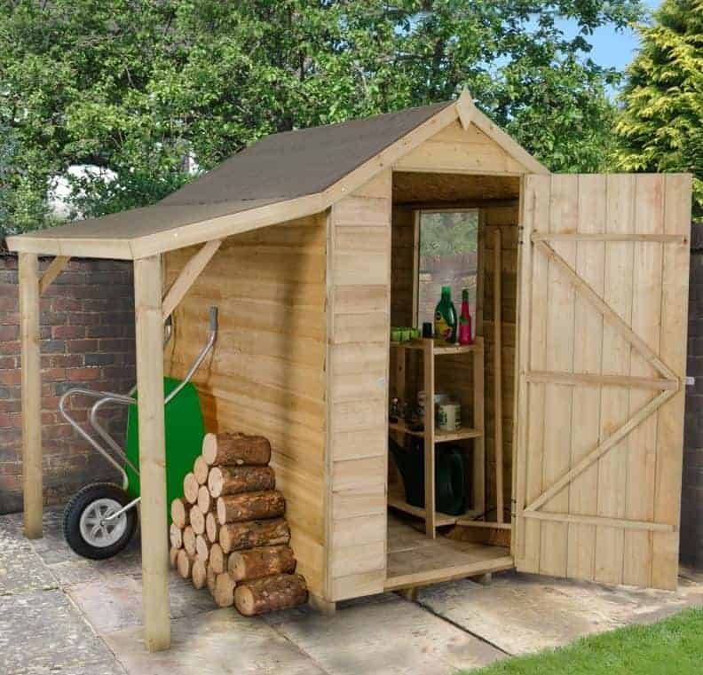 6 x 4 overlap pressure treated wooden shed with lean to. Black Bedroom Furniture Sets. Home Design Ideas