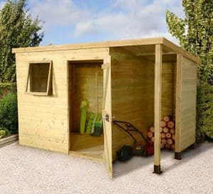 7-x-5-shed7 x 5 Shed-Plus Champion Heavy Duty Pent Wooden Shed With Logstore