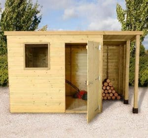 7 x 5 Shed-Plus Champion Heavy Duty Pent Wooden Shed With Logstore Type And Roof Size