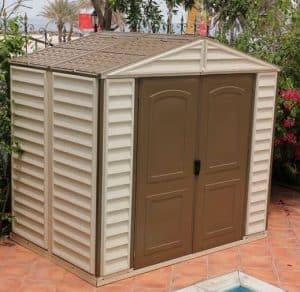 Duramax Vinyl Woodside 8 x 6 Shed Type And Roof Size