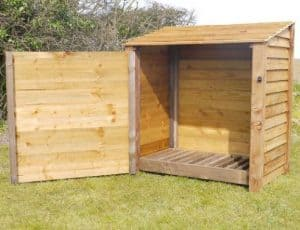 Rutland 4 Foot Single Midi Log Store With Door Type And Roof Size