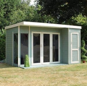 12 x 8 Waltons Contemporary Summerhouse with Side Shed Type And Roof Size