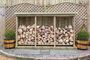 Superior Treated Redwood Triple Log Store Type And Roof Size