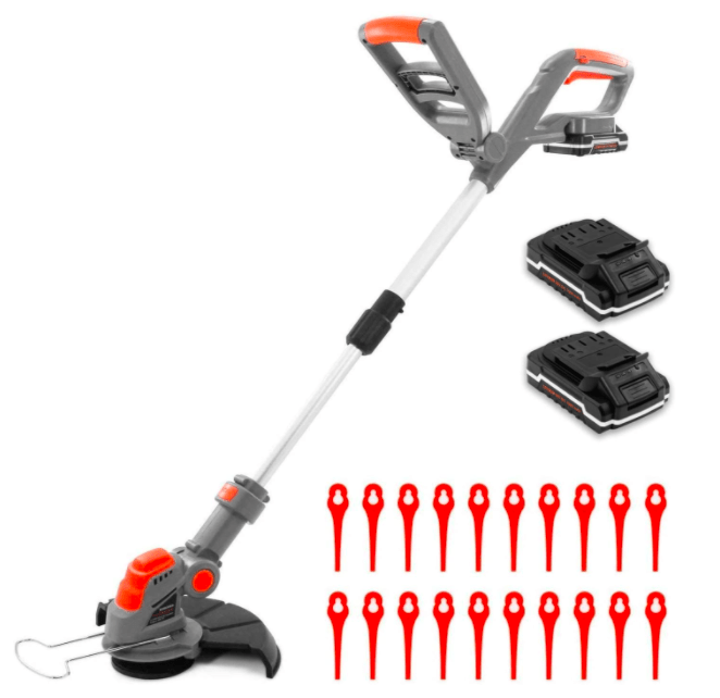 Terratek Cordless Strimmer with 2 Batteries & 30 Spare Blades